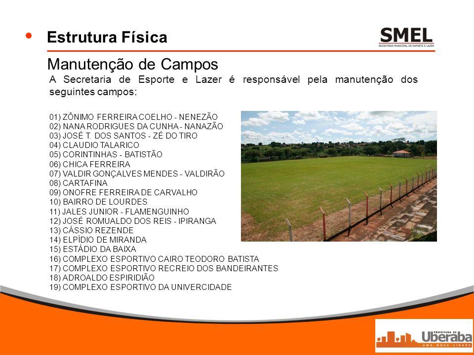 Estrutura Física Manutenção de Campos A Secretaria de Esporte e Lazer é responsável pela manutenção dos seguintes campos: 01) ZÔNIMO FERREIRA COELHO -