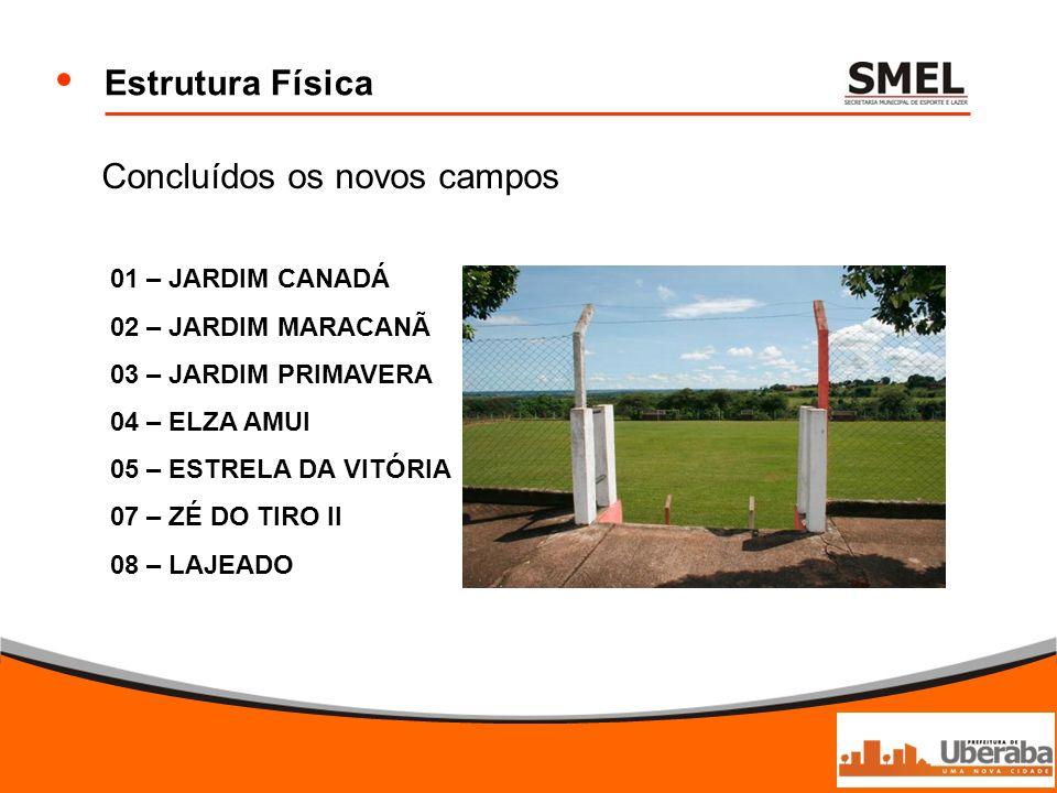 Estrutura Física Concluídos os novos campos 01 – JARDIM CANADÁ 02 – JARDIM MARACANÃ 03 – JARDIM PRIMAVERA 04 – ELZA AMUI 05 – ESTRELA DA VITÓRIA 07 –