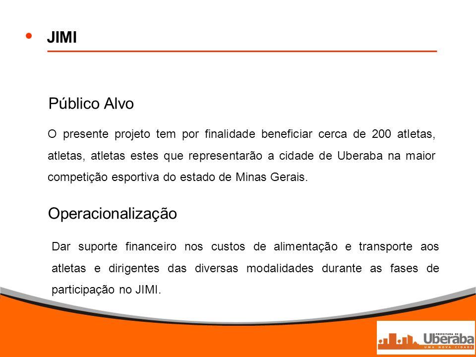JIMI Público Alvo Operacionalização O presente projeto tem por finalidade beneficiar cerca de 200 atletas, atletas, atletas estes que representarão a