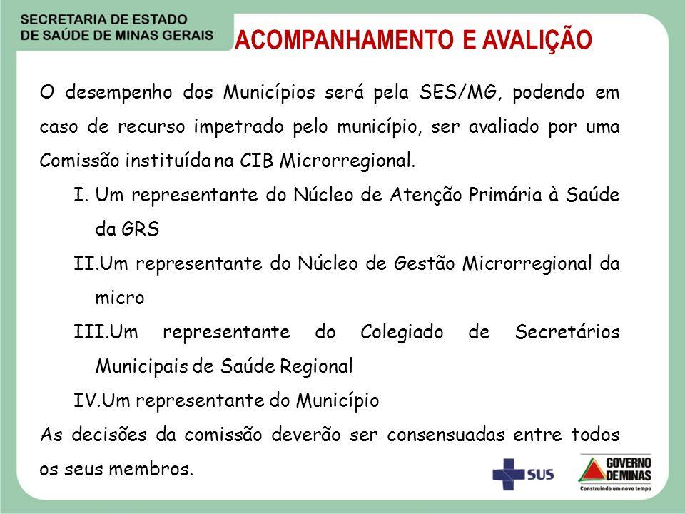 O desempenho dos Municípios será pela SES/MG, podendo em caso de recurso impetrado pelo município, ser avaliado por uma Comissão instituída na CIB Mic