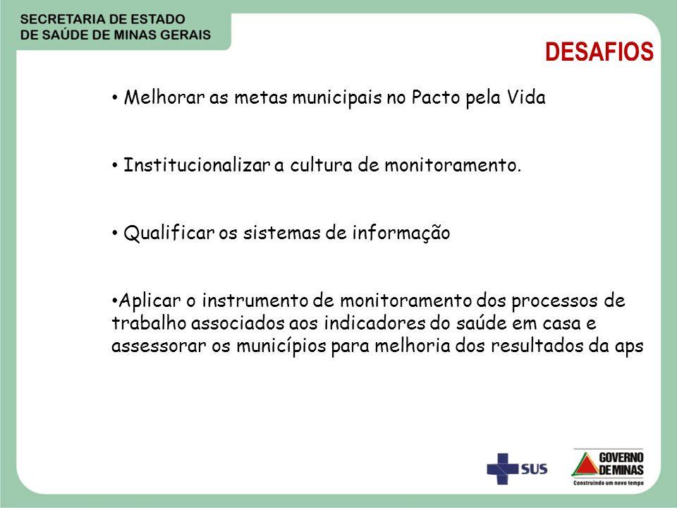 DESAFIOS Melhorar as metas municipais no Pacto pela Vida Institucionalizar a cultura de monitoramento. Qualificar os sistemas de informação Aplicar o