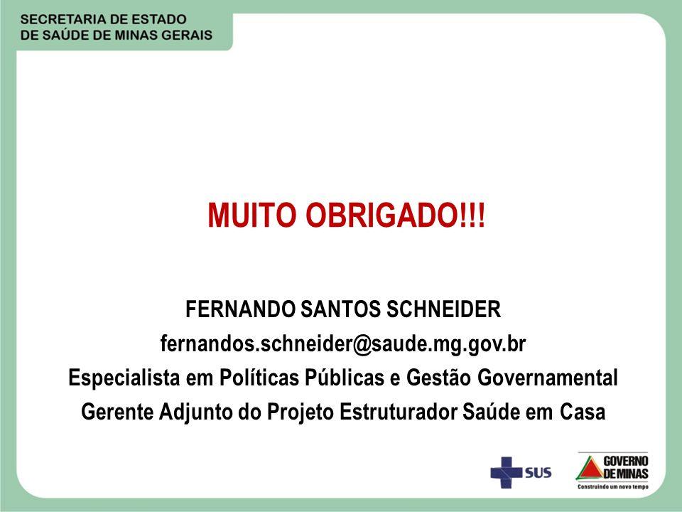 MUITO OBRIGADO!!! FERNANDO SANTOS SCHNEIDER fernandos.schneider@saude.mg.gov.br Especialista em Políticas Públicas e Gestão Governamental Gerente Adju