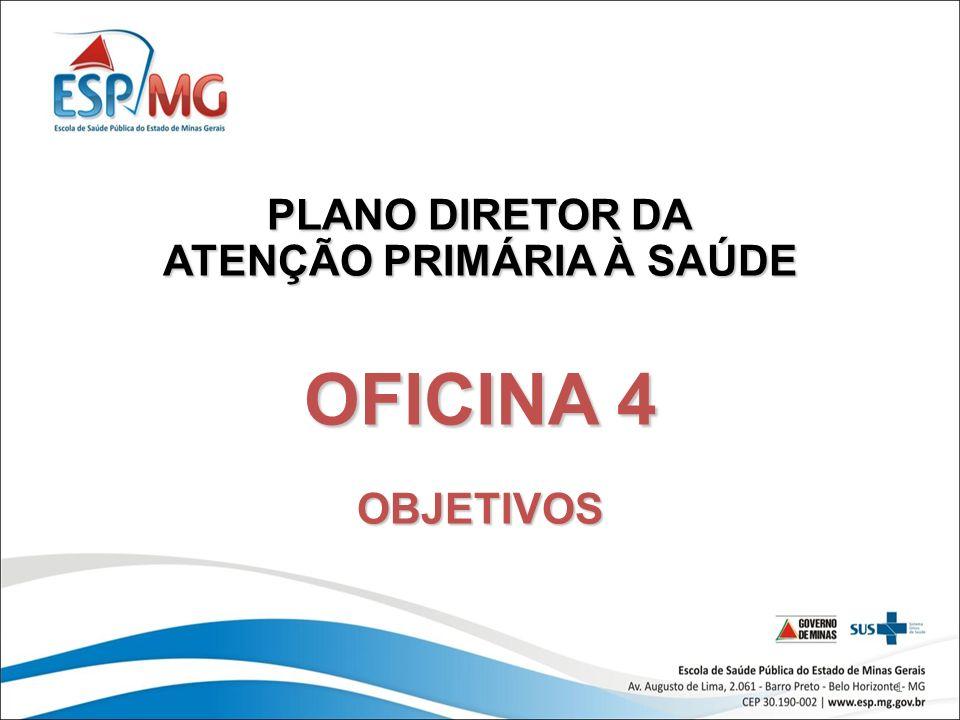 1 PLANO DIRETOR DA ATENÇÃO PRIMÁRIA À SAÚDE OFICINA 4 OBJETIVOS