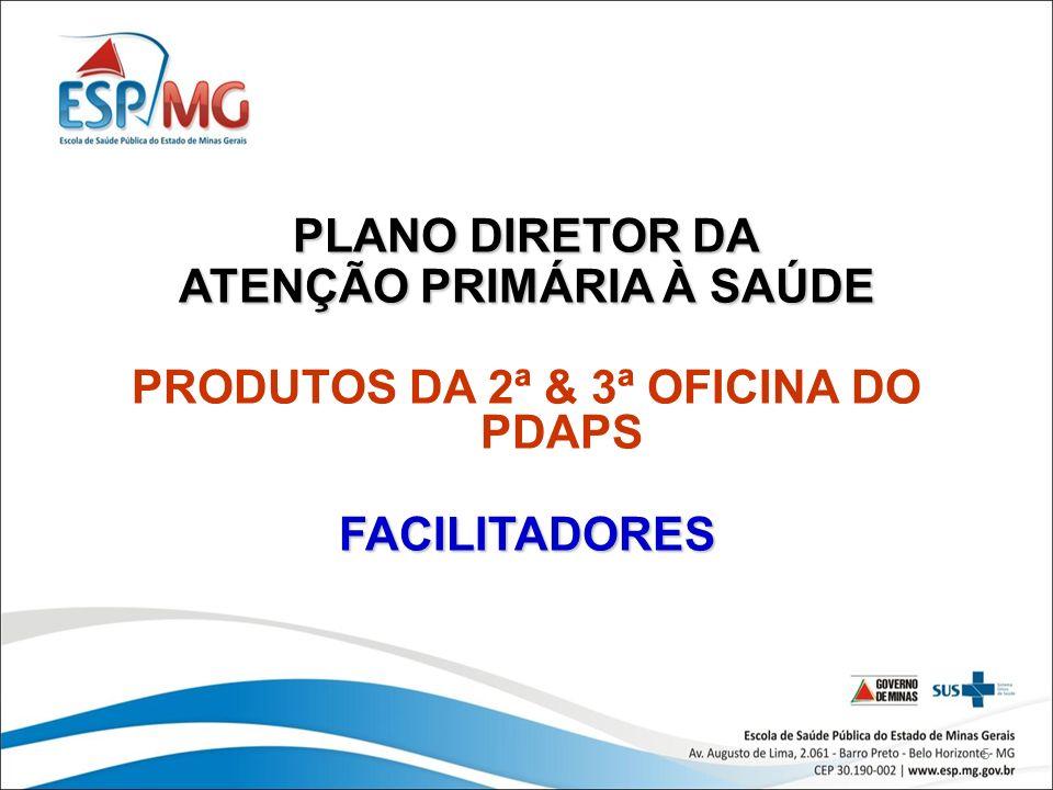 5 PLANO DIRETOR DA ATENÇÃO PRIMÁRIA À SAÚDE PRODUTOS DA 2ª & 3ª OFICINA DO PDAPSFACILITADORES