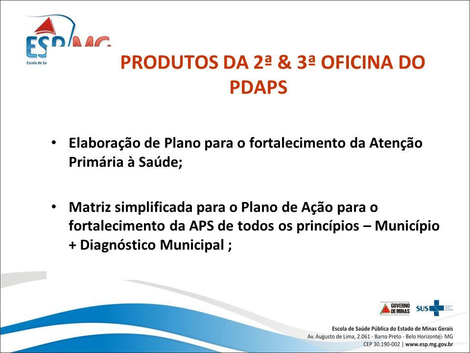 99 PLANO DIRETOR DA ATENÇÃO PRIMÁRIA À SAÚDE PRODUTOS DA 2ª & 3ª OFICINA DO PDAPS EQUIPES UAPS