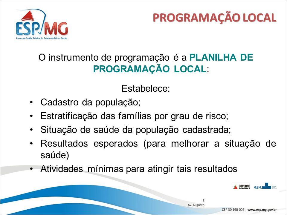 16 PROGRAMAÇÃO LOCAL O instrumento de programação é a PLANILHA DE PROGRAMAÇÃO LOCAL: Estabelece: Cadastro da população; Estratificação das famílias po
