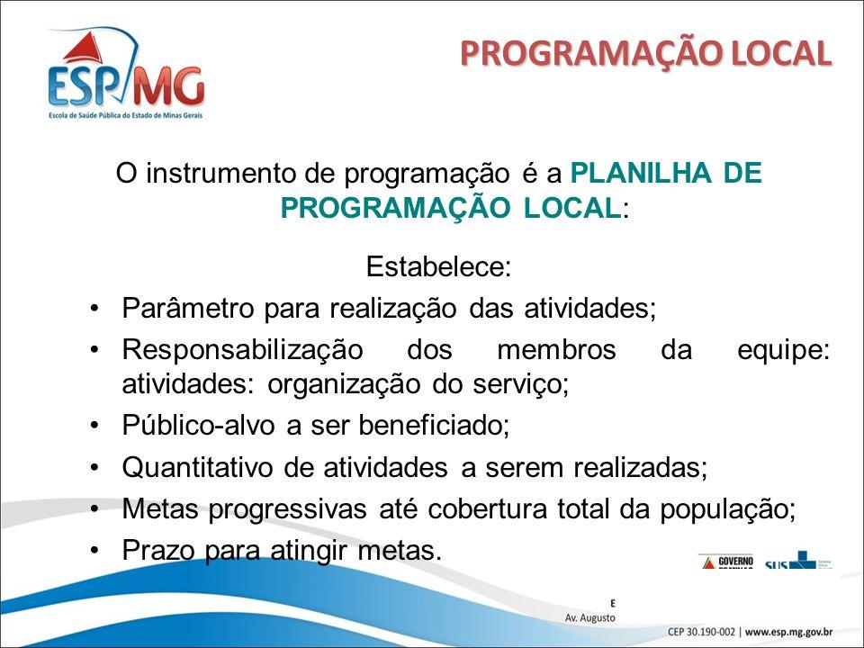 17 PROGRAMAÇÃO LOCAL O instrumento de programação é a PLANILHA DE PROGRAMAÇÃO LOCAL: Estabelece: Parâmetro para realização das atividades; Responsabil