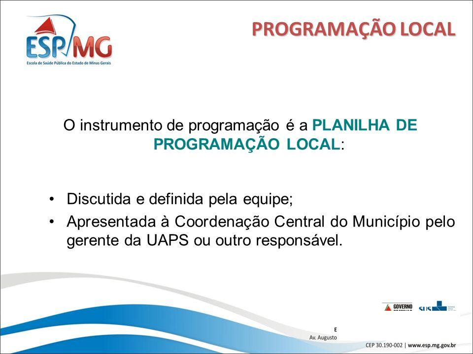 18 PROGRAMAÇÃO LOCAL O instrumento de programação é a PLANILHA DE PROGRAMAÇÃO LOCAL: Discutida e definida pela equipe; Apresentada à Coordenação Centr