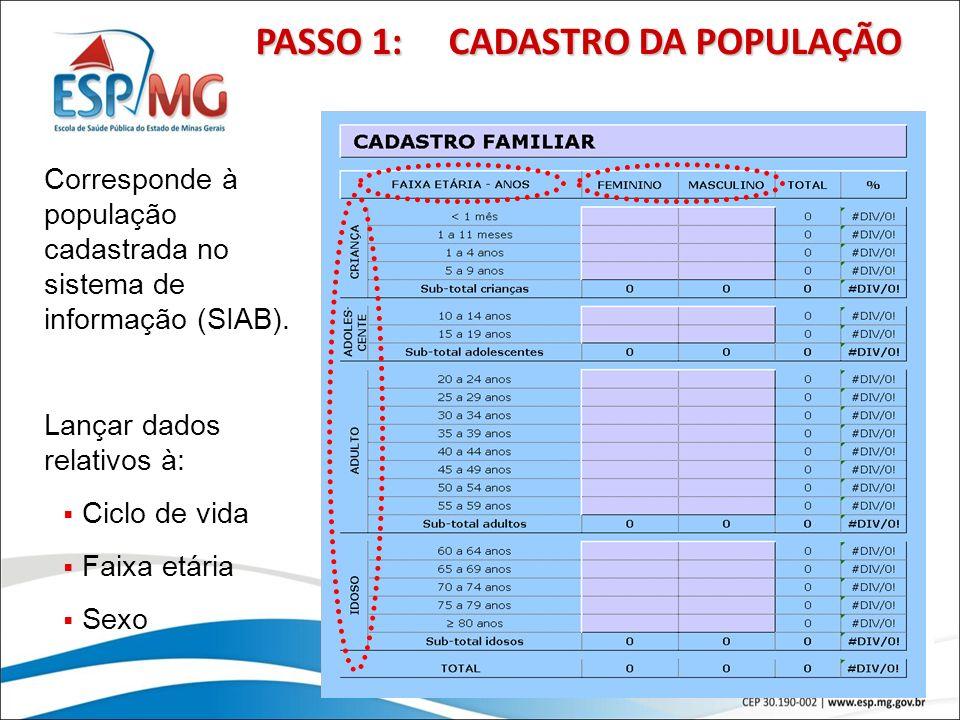 19 PASSO 1: CADASTRO DA POPULAÇÃO Corresponde à população cadastrada no sistema de informação (SIAB). Lançar dados relativos à: Ciclo de vida Faixa et