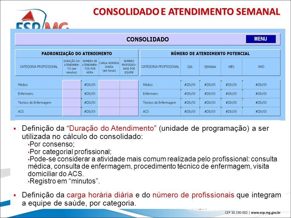 37 CONSOLIDADO E ATENDIMENTO SEMANAL Definição da Duração do Atendimento (unidade de programação) a ser utilizada no cálculo do consolidado: Por conse