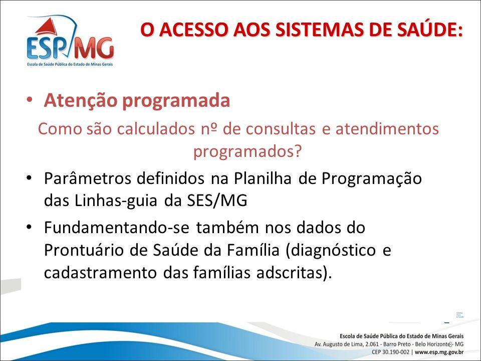 8 Atenção programada Como são calculados nº de consultas e atendimentos programados? Parâmetros definidos na Planilha de Programação das Linhas-guia d
