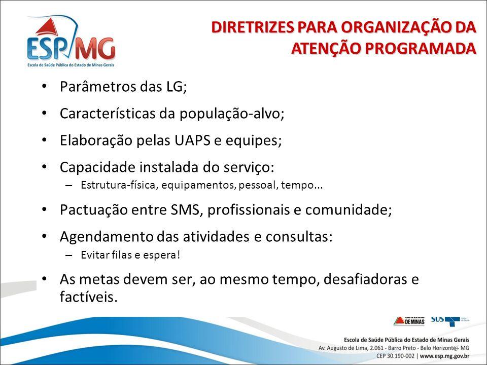 9 Parâmetros das LG; Características da população-alvo; Elaboração pelas UAPS e equipes; Capacidade instalada do serviço: – Estrutura-física, equipame