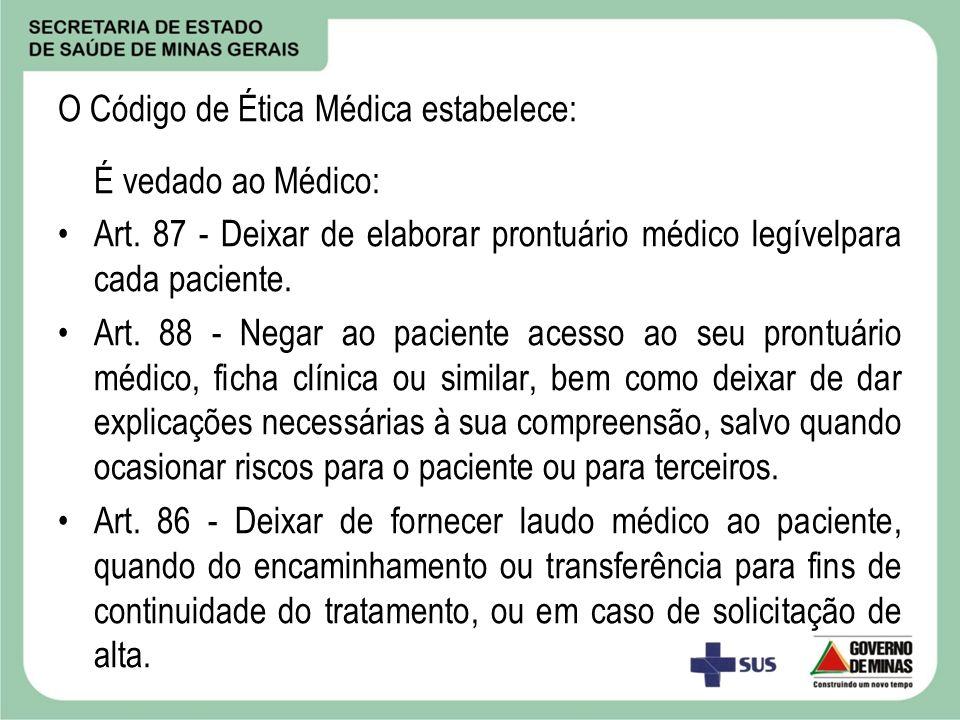 O Código de Ética Médica estabelece: É vedado ao Médico: Art. 87 - Deixar de elaborar prontuário médico legívelpara cada paciente. Art. 88 - Negar ao