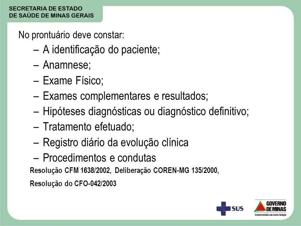 No prontuário deve constar: –A identificação do paciente; –Anamnese; –Exame Físico; –Exames complementares e resultados; –Hipóteses diagnósticas ou di