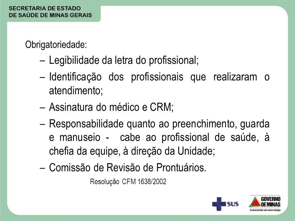 Obrigatoriedade: –Legibilidade da letra do profissional; –Identificação dos profissionais que realizaram o atendimento; –Assinatura do médico e CRM; –
