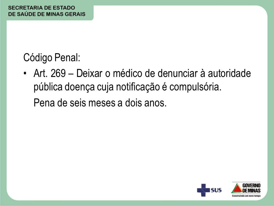 Código Penal: Art. 269 – Deixar o médico de denunciar à autoridade pública doença cuja notificação é compulsória. Pena de seis meses a dois anos.