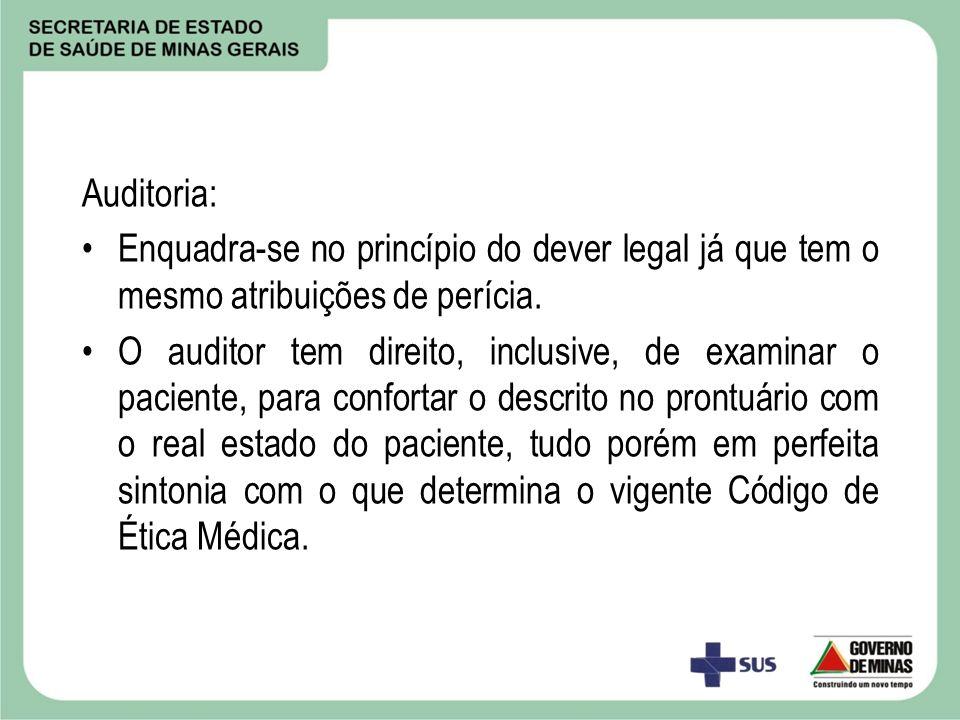 Auditoria: Enquadra-se no princípio do dever legal já que tem o mesmo atribuições de perícia. O auditor tem direito, inclusive, de examinar o paciente