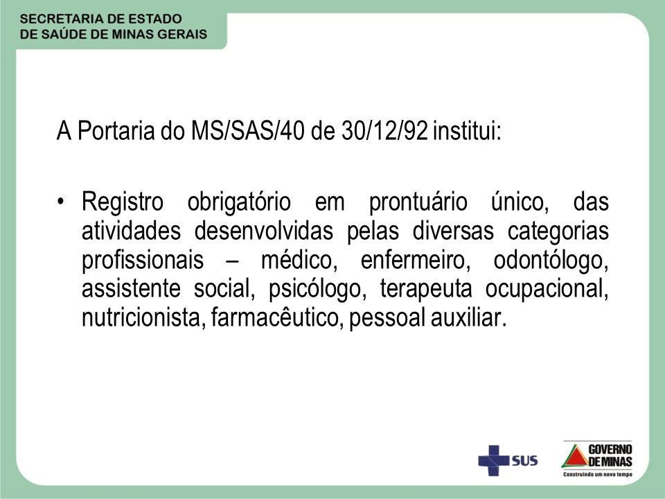 A Portaria do MS/SAS/40 de 30/12/92 institui: Registro obrigatório em prontuário único, das atividades desenvolvidas pelas diversas categorias profiss