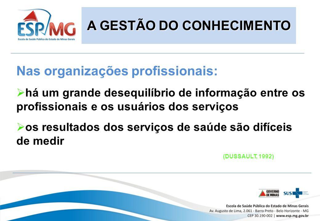Nas organizações profissionais: há um grande desequilíbrio de informação entre os profissionais e os usuários dos serviços os resultados dos serviços de saúde são difíceis de medir (DUSSAULT, 1992) A GESTÃO DO CONHECIMENTO