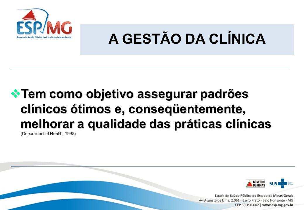 A GESTÃO DA CLÍNICA Tem como objetivo assegurar padrões clínicos ótimos e, conseqüentemente, melhorar a qualidade das práticas clínicas Tem como objetivo assegurar padrões clínicos ótimos e, conseqüentemente, melhorar a qualidade das práticas clínicas (Department of Health, 1998)