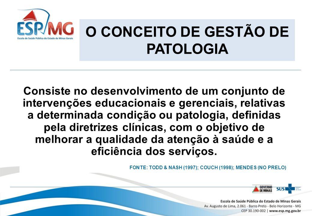 O CONCEITO DE GESTÃO DE PATOLOGIA Consiste no desenvolvimento de um conjunto de intervenções educacionais e gerenciais, relativas a determinada condição ou patologia, definidas pela diretrizes clínicas, com o objetivo de melhorar a qualidade da atenção à saúde e a eficiência dos serviços.