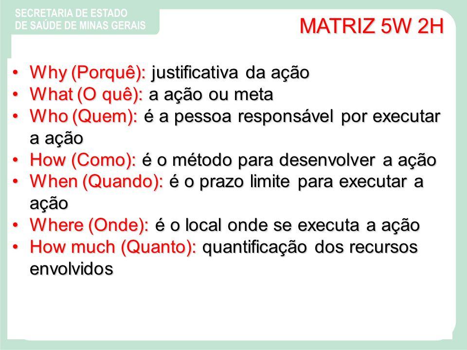 MATRIZ 5W 2H Why (Porquê): justificativa da açãoWhy (Porquê): justificativa da ação What (O quê): a ação ou metaWhat (O quê): a ação ou meta Who (Quem): é a pessoa responsável por executar a açãoWho (Quem): é a pessoa responsável por executar a ação How (Como): é o método para desenvolver a açãoHow (Como): é o método para desenvolver a ação When (Quando): é o prazo limite para executar a açãoWhen (Quando): é o prazo limite para executar a ação Where (Onde): é o local onde se executa a açãoWhere (Onde): é o local onde se executa a ação How much (Quanto): quantificação dos recursos envolvidosHow much (Quanto): quantificação dos recursos envolvidos