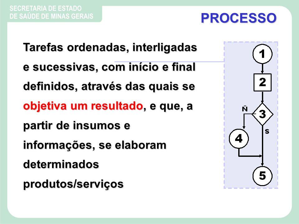 Tarefas ordenadas, interligadas e sucessivas, com início e final definidos, através das quais se objetiva um resultado, e que, a partir de insumos e informações, se elaboram determinados produtos/serviços PROCESSO