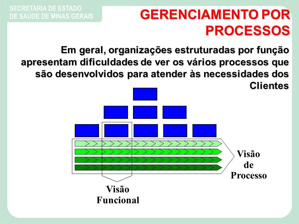 Visão Funcional Visão de Processo Em geral, organizações estruturadas por função apresentam dificuldades de ver os vários processos que são desenvolvidos para atender às necessidades dos Clientes GERENCIAMENTO POR PROCESSOS