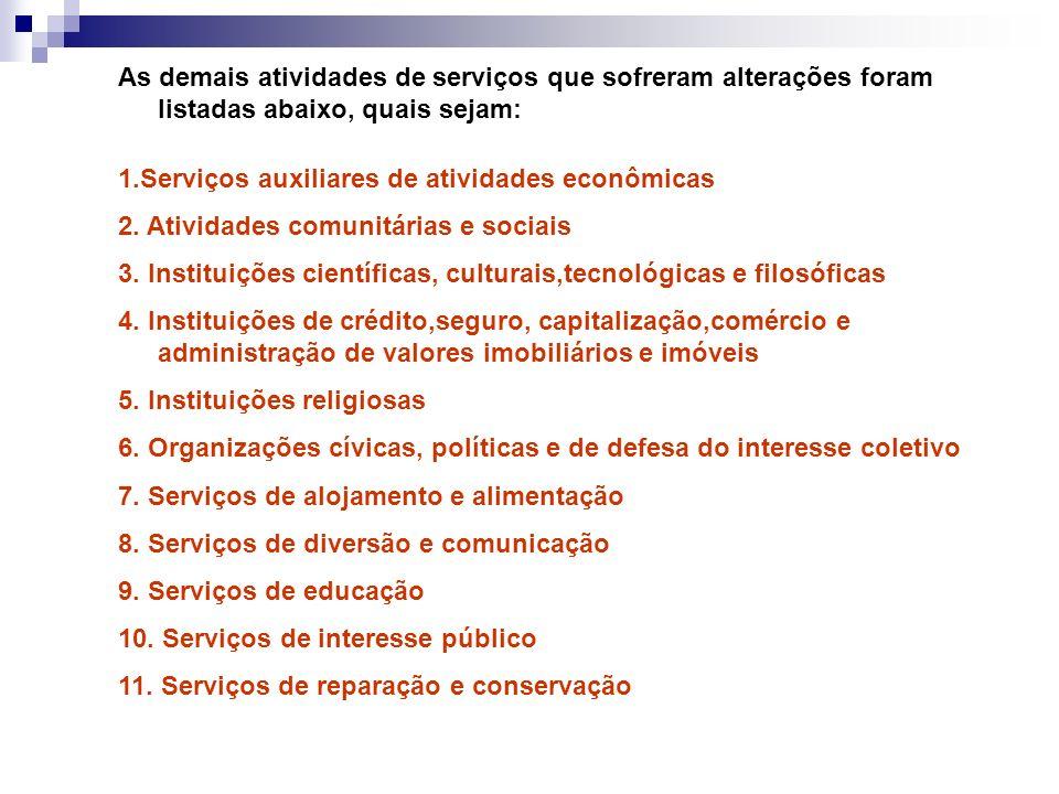 As demais atividades de serviços que sofreram alterações foram listadas abaixo, quais sejam: 1.Serviços auxiliares de atividades econômicas 2. Ativida