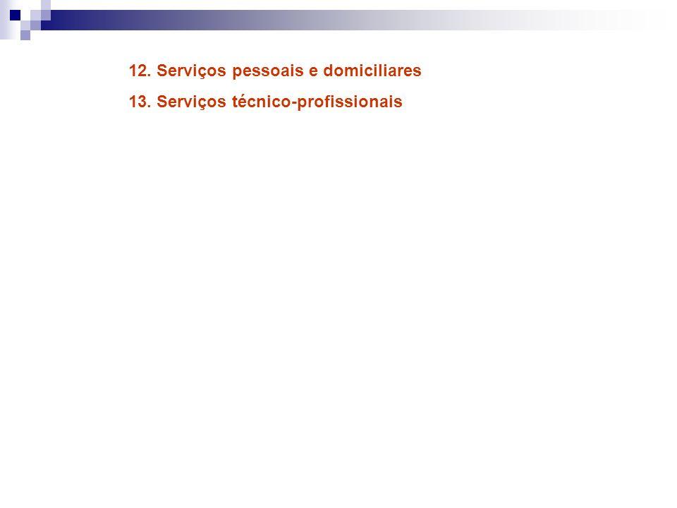 12. Serviços pessoais e domiciliares 13. Serviços técnico-profissionais