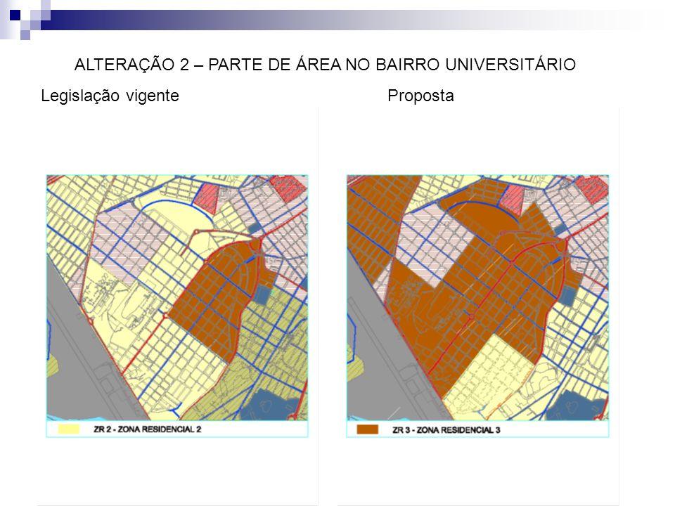 ALTERAÇÃO 2 – PARTE DE ÁREA NO BAIRRO UNIVERSITÁRIO Legislação vigente Proposta