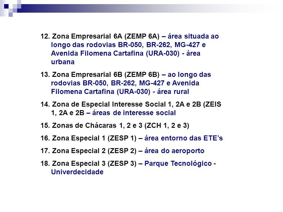 12. Zona Empresarial 6A (ZEMP 6A) – área situada ao longo das rodovias BR-050, BR-262, MG-427 e Avenida Filomena Cartafina (URA-030) - área urbana 13.