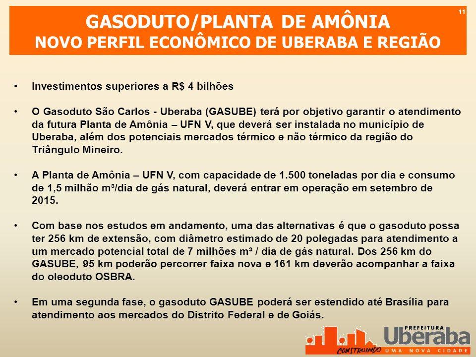 GASODUTO/PLANTA DE AMÔNIA NOVO PERFIL ECONÔMICO DE UBERABA E REGIÃO Investimentos superiores a R$ 4 bilhões O Gasoduto São Carlos - Uberaba (GASUBE) t