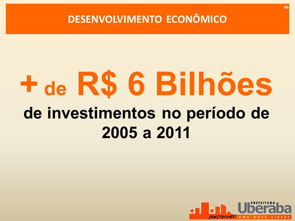 DESENVOLVIMENTO ECONÔMICO + de R$ 6 Bilhões de investimentos no período de 2005 a 2011 06