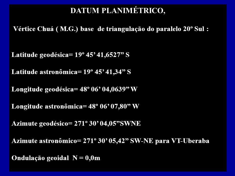 DATUM PLANIMÉTRICO, Vértice Chuá ( M.G.) base de triangulação do paralelo 20º Sul : Latitude geodésica= 19º 45 41,6527 S Latitude astronômica= 19º 45 41,34 S Longitude geodésica= 48º 06 04,0639 W Longitude astronômica= 48º 06 07,80 W Azimute geodésico= 271º 30 04,05SWNE Azimute astronômico= 271º 30 05,42 SW-NE para VT-Uberaba Ondulação geoidal N = 0,0m
