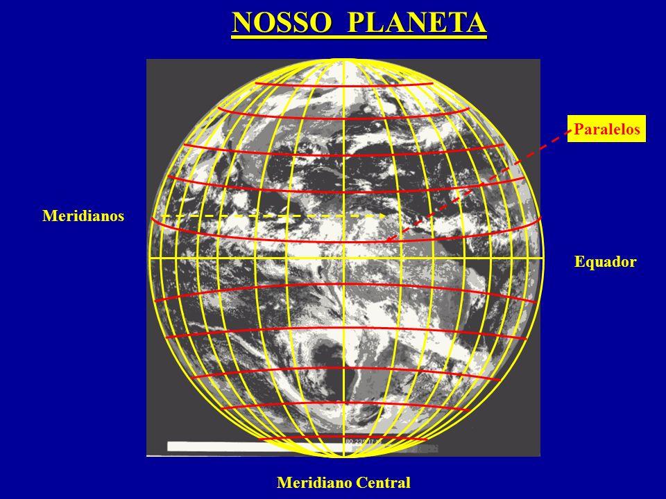 Meridianos Paralelos NOSSO PLANETA Equador Meridiano Central