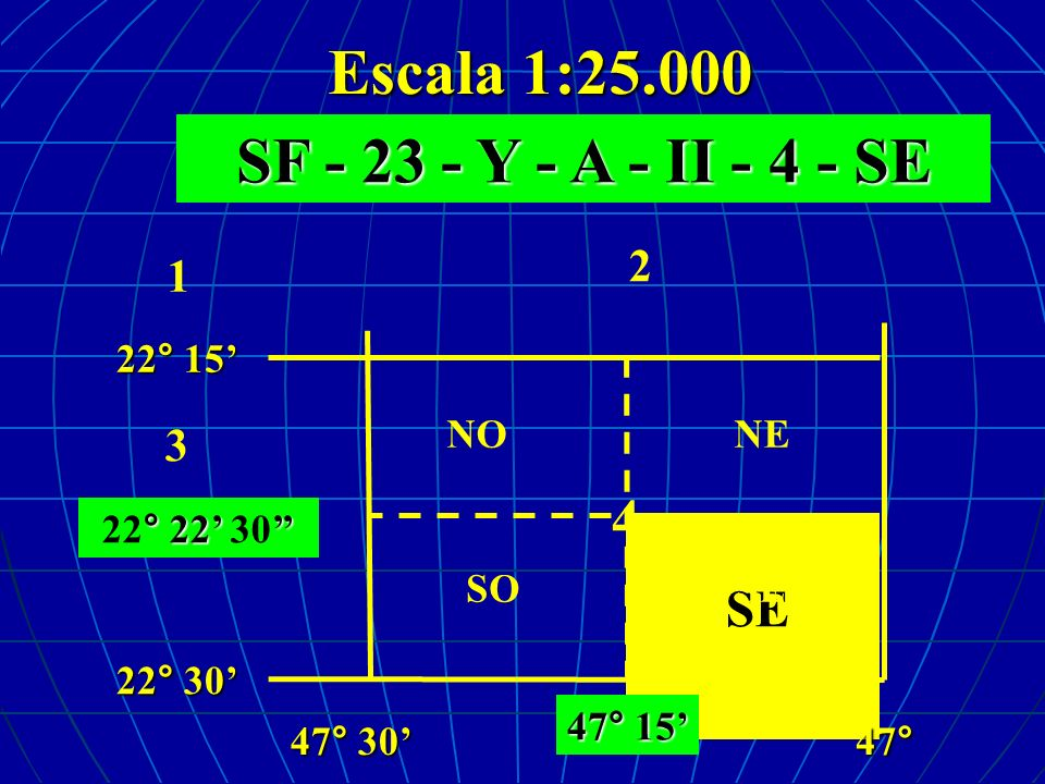 Escala 1:25.000 SF - 23 - Y - A - II - 4 - SE ° 22 22° 22 30 SE 2 3 4 1 47° 22° 15 22° 30 47° 30 NENO SO 47° 15 SE