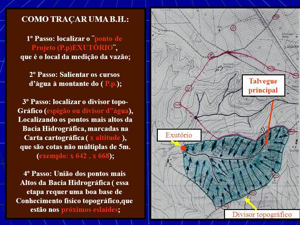 COMO TRAÇAR UMA B.H.: 1º Passo: localizar o ¨ponto de Projeto (P.p)EXUTÓRIO¨, que é o local da medição da vazão; 2º Passo: Salientar os cursos dàgua à montante do ( P.p.); 3º Passo: localizar o divisor topo- Gráfico (espigão ou divisor dágua), Localizando os pontos mais altos da Bacia Hidrográfica, marcadas na Carta cartográfica ( x altitude ), que são cotas não múltiplas de 5m.