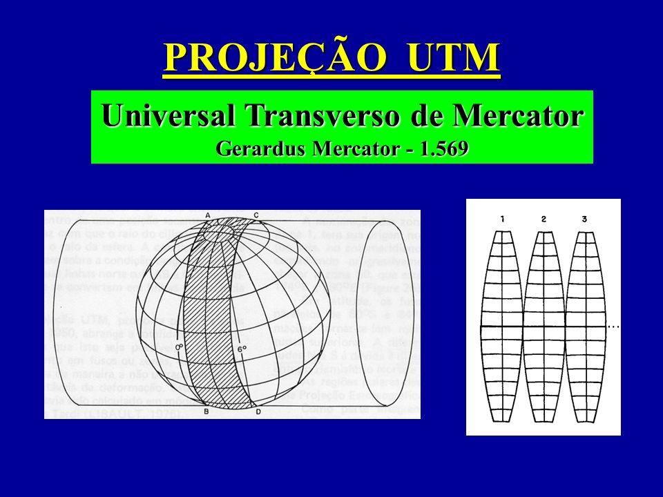 PROJEÇÃO UTM Universal Transverso de Mercator Gerardus Mercator - 1.569