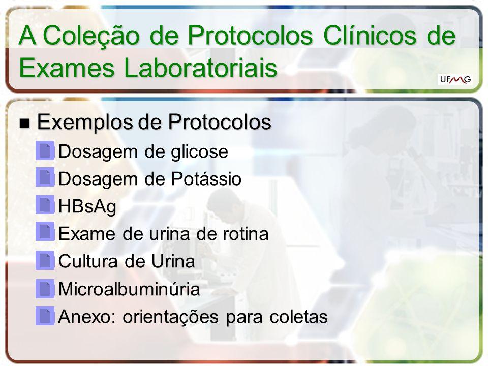 A Coleção de Protocolos Clínicos de Exames Laboratoriais Exemplos de Protocolos Exemplos de Protocolos Dosagem de glicose Dosagem de Potássio HBsAg Ex