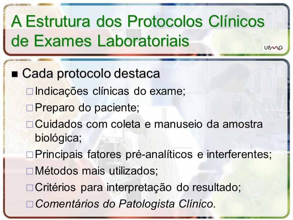 A Estrutura dos Protocolos Clínicos de Exames Laboratoriais Cada protocolo destaca Cada protocolo destaca Indicações clínicas do exame; Preparo do pac