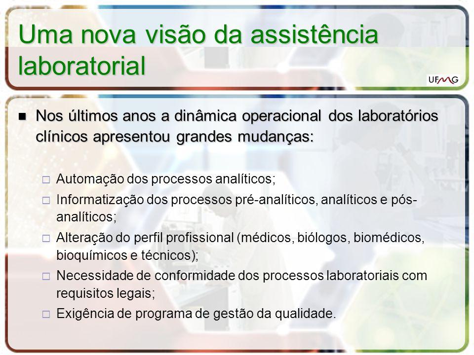 Uma nova visão da assistência laboratorial O desafio atual: O desafio atual: qualidade operacional; desenvolvimento tecnológico; otimização de recursos humanos; custo racional.