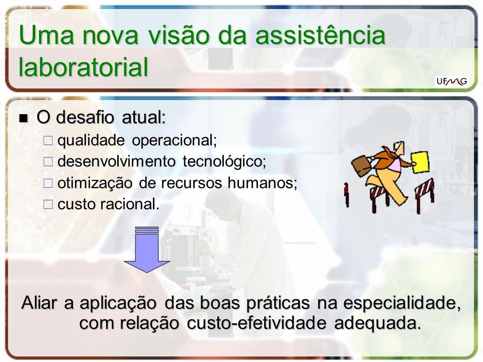 Uma nova visão da assistência laboratorial O desafio atual: O desafio atual: qualidade operacional; desenvolvimento tecnológico; otimização de recurso