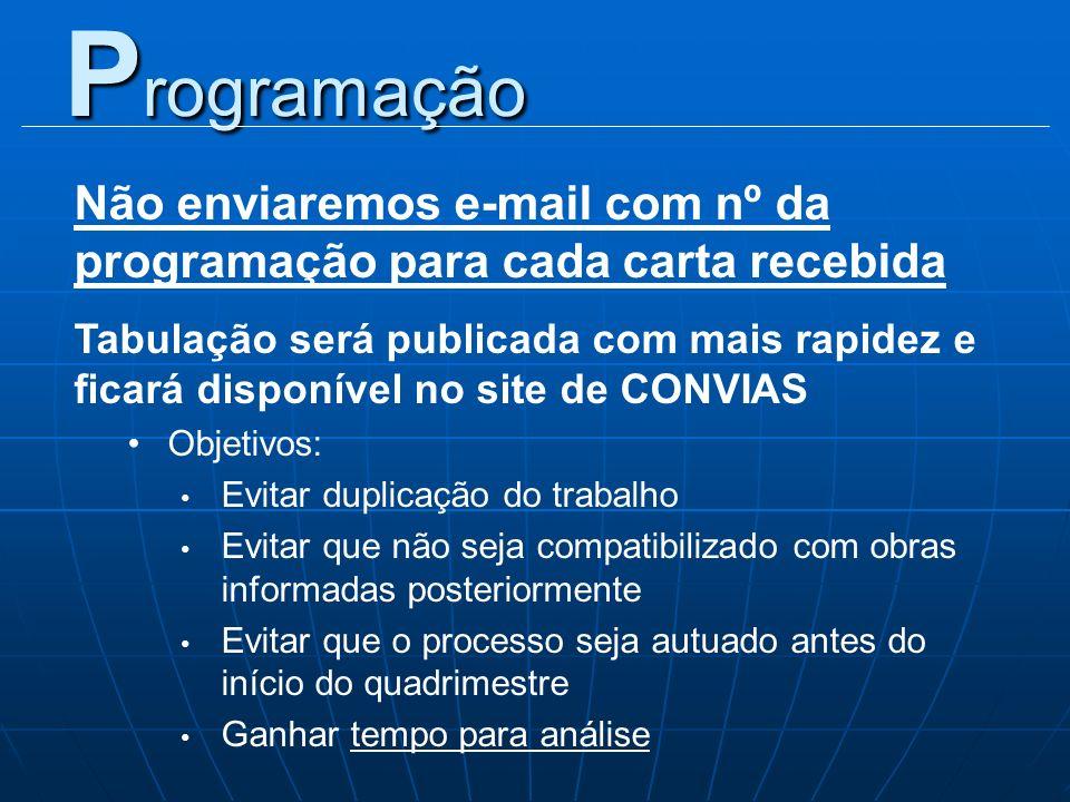 Não enviaremos e-mail com nº da programação para cada carta recebida Tabulação será publicada com mais rapidez e ficará disponível no site de CONVIAS