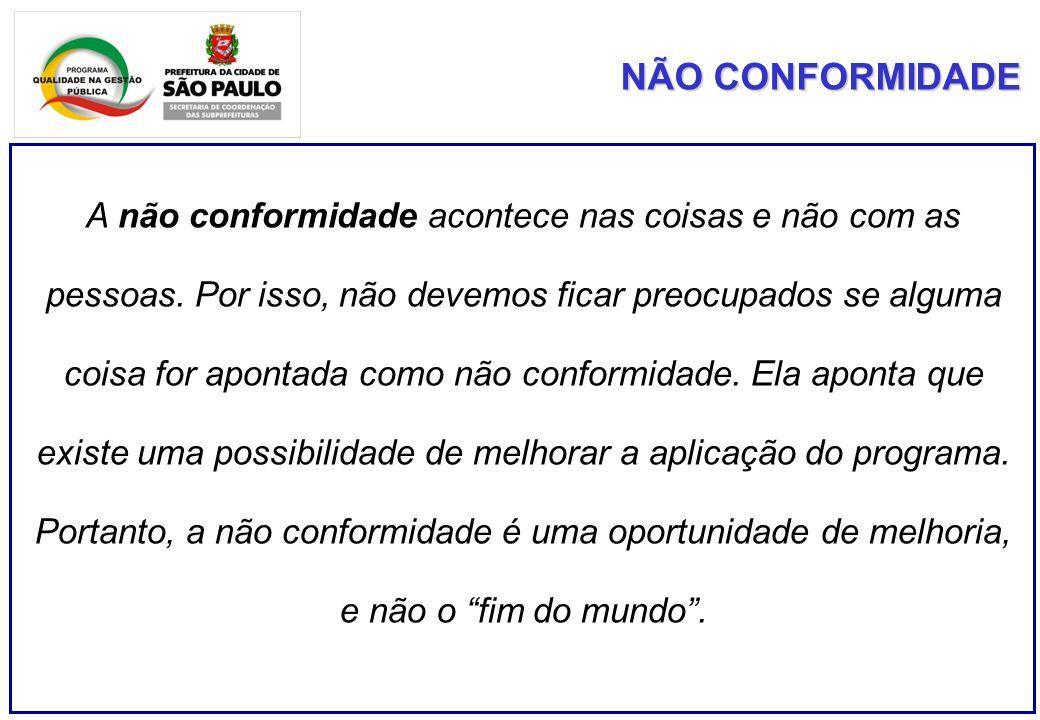 NÃO CONFORMIDADE A não conformidade acontece nas coisas e não com as pessoas.