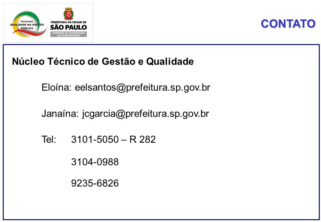 CONTATO Núcleo Técnico de Gestão e Qualidade Eloína: eelsantos@prefeitura.sp.gov.br Janaína: jcgarcia@prefeitura.sp.gov.br Tel: 3101-5050 – R 282 3104-0988 9235-6826