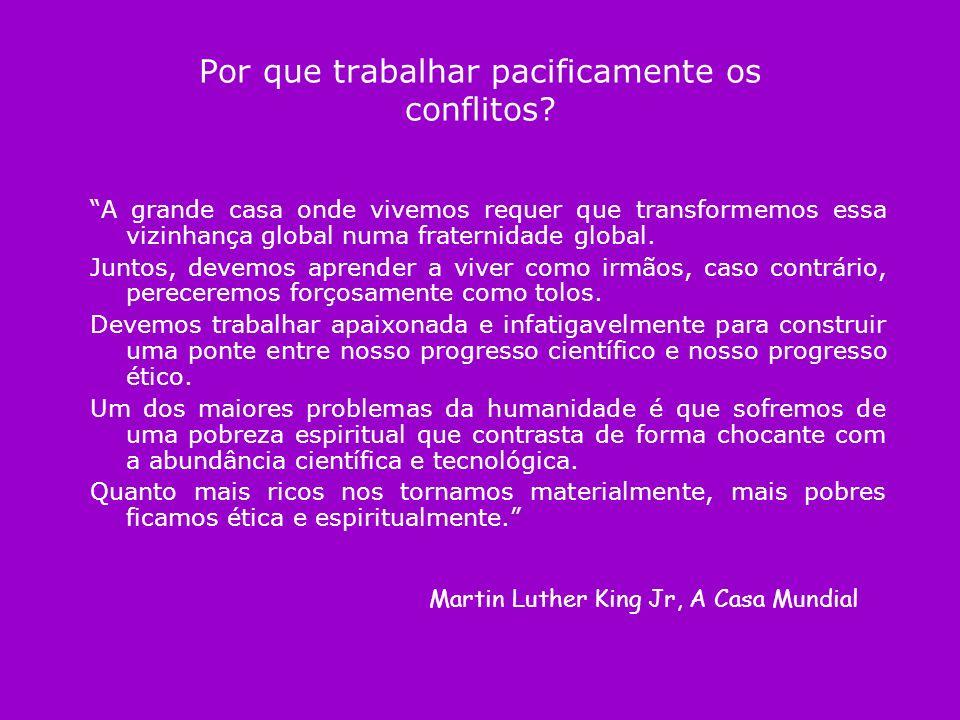 Por que trabalhar pacificamente os conflitos? A grande casa onde vivemos requer que transformemos essa vizinhança global numa fraternidade global. Jun