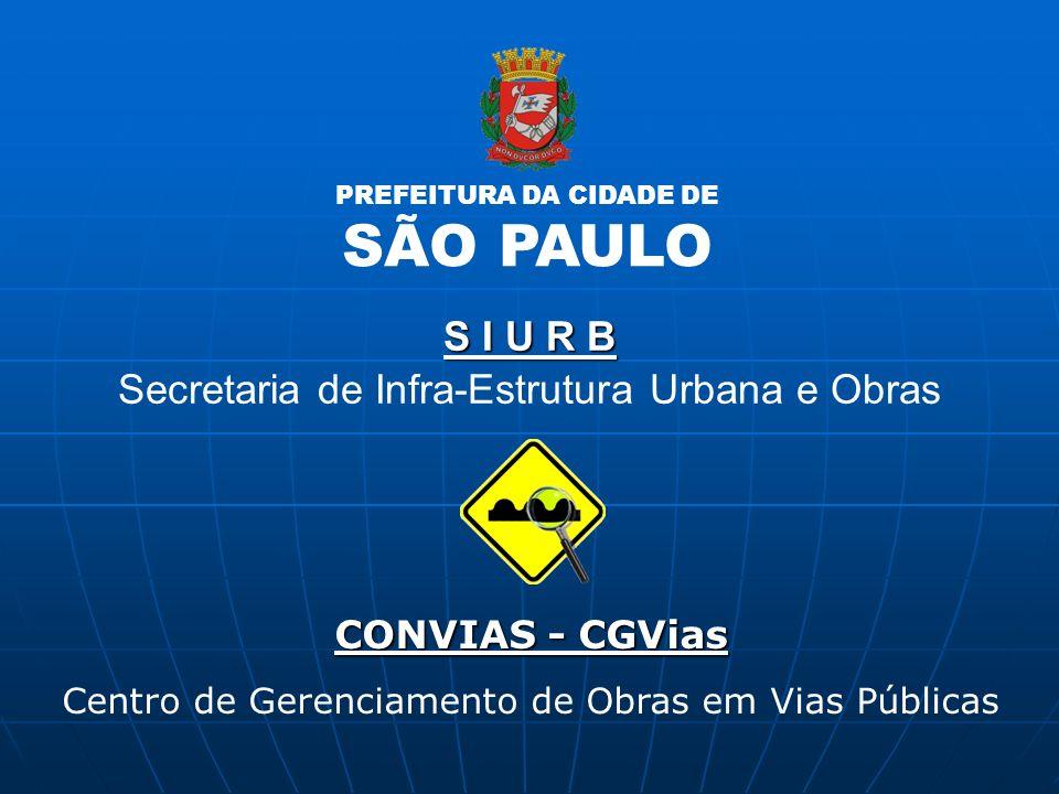CONVIAS - CGVias Centro de Gerenciamento de Obras em Vias Públicas S I U R B Secretaria de Infra-Estrutura Urbana e Obras PREFEITURA DA CIDADE DE SÃO