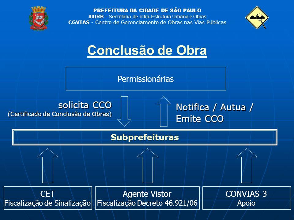 PREFEITURA DA CIDADE DE SÃO PAULO SIURB – Secretaria de Infra-Estrutura Urbana e Obras CGVIAS - Centro de Gerenciamento de Obras nas Vias Públicas Con