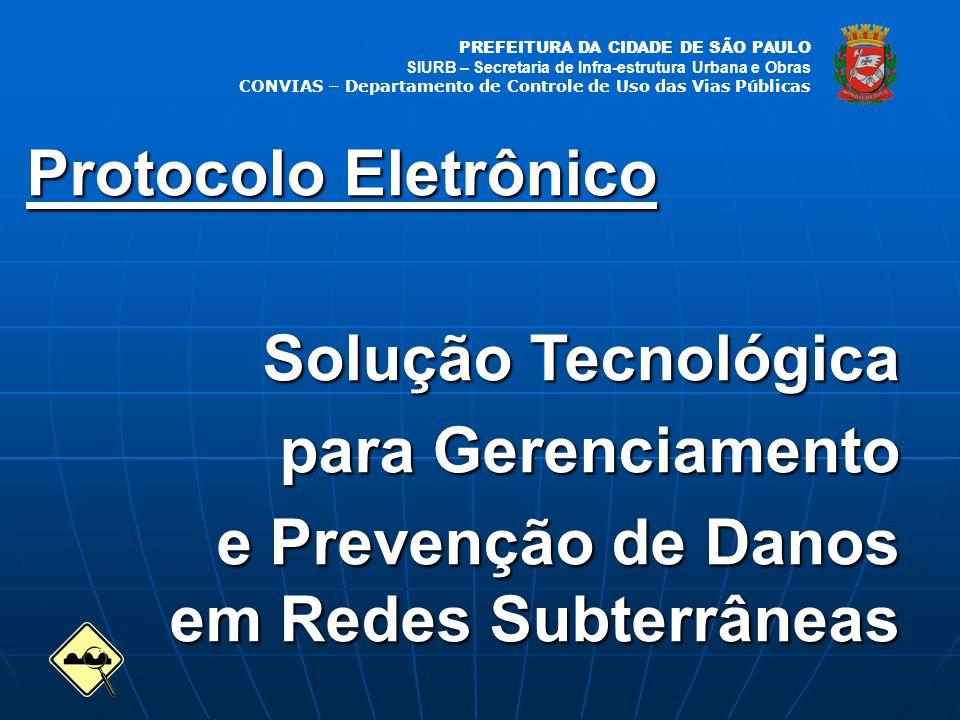 PREFEITURA DA CIDADE DE SÃO PAULO SIURB – Secretaria de Infra-estrutura Urbana e Obras CONVIAS – Departamento de Controle de Uso das Vias Públicas Protocolo Eletrônico Solução Tecnológica Solução Tecnológica para Gerenciamento e Prevenção de Danos em Redes Subterrâneas